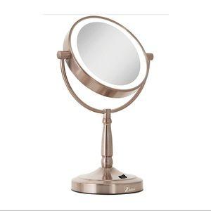 Zadro rose gold LED magnifying makeup mirror 10x